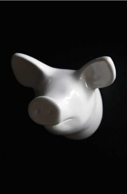 Zoo Dear Animal Coat Hook & Door Knob - White Pig