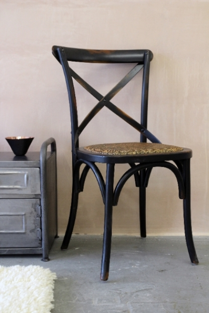Dark Cross Back Dining Chair