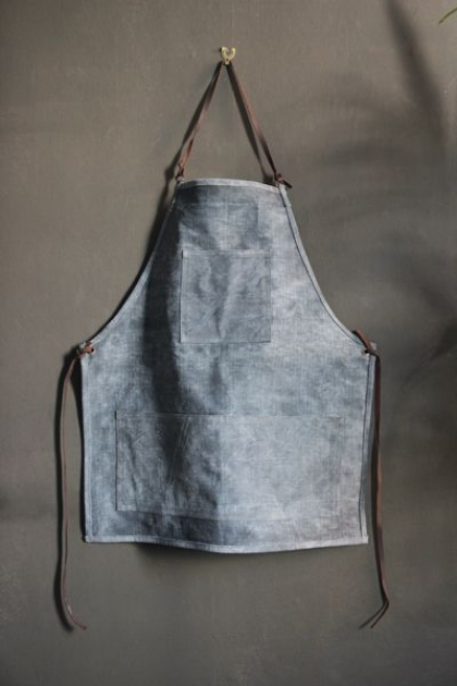 Artisan Canvas Apron - Indigo Blue and Brown Leather