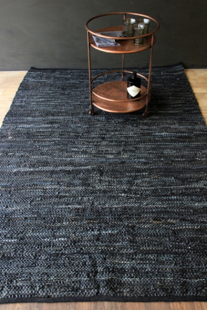 Black Leather Rug - 2 Sizes Available 50% OFF