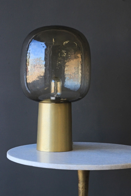 Brass & Smoke Glass Table Light