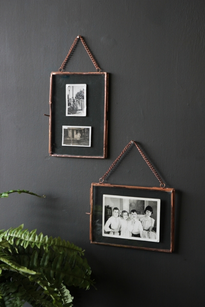 Set Of 2 Photo Frames With Chain - Copper