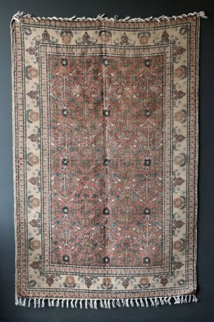 Cotton & Jute Natural Coloured Printed Stonewashed Dhurrie Rug