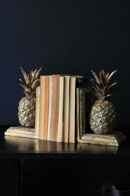 Gold Pineapple Bookends