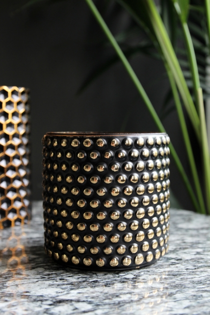 Studded Black & Gold Tealight Holder - Large