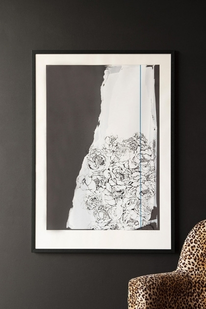 Lifestyle image of the Hand Screen Printed Floral Zeitgeist Portrait Artwork By Lizzie Coles hanging on the wall