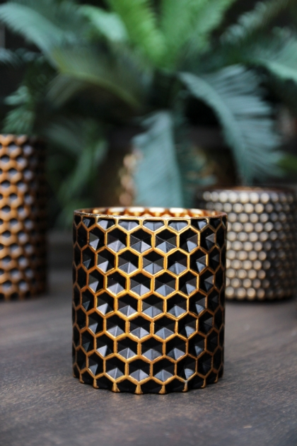Honeycomb Black & Gold Tea Light Holder - Small