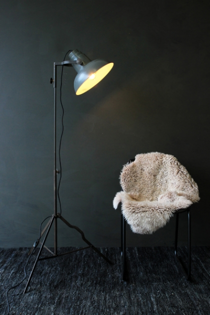 Industrial Film Floor Lamp with Grey Shade