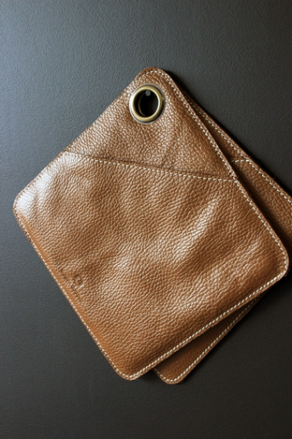 Leather Pot Holders Oven Gloves - Tan Brown