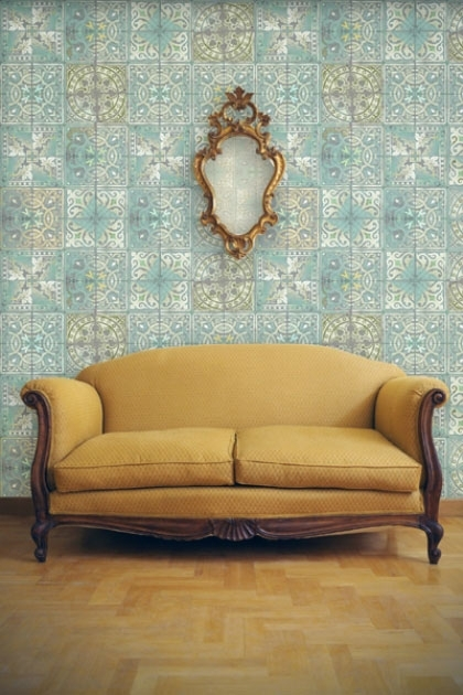 Louise Body Patchwork Tile Wallpaper - Jade - Panel