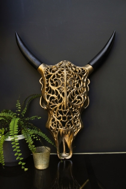 Ornate Metal Faux Bull Skull With Horns - Gold
