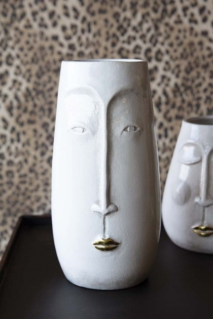 Tall White Peace Vase with Face and Gold Lips
