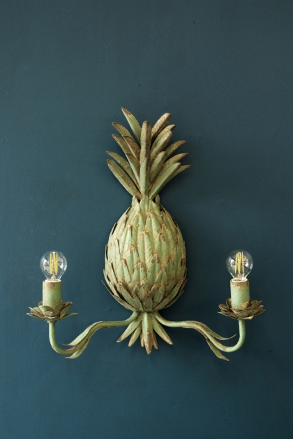 Patina Pineapple Wall Light Sconce