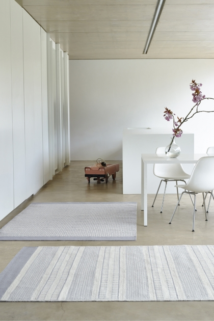 Belle 100% Wool Rug - Grey/Natural Border 06 - 2 Sizes Available