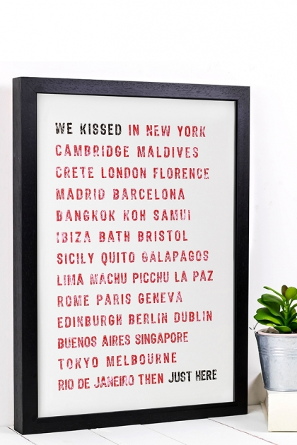 Personalised A3 Kiss Typographic Art Print