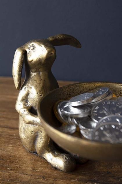 Antique Brass Effect Bunny Trinket Bowl