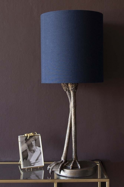 Antique Bronze Flamingo Leg Table Lamp With Navy Blue Shade