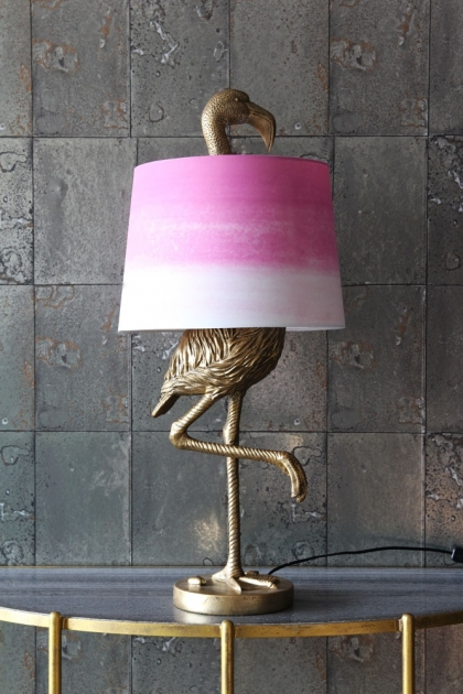 Antique Gold Flamingo Table Lamp With Pink Amp White Shade