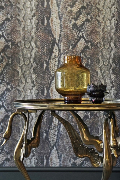 Beautiful Brass & Smokey Glass Swan Table