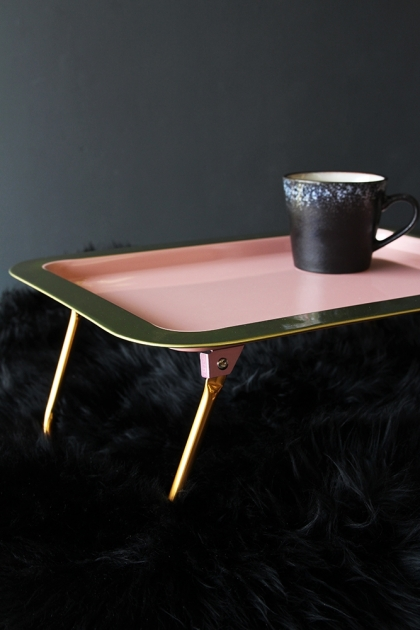 Bed Tray With Folding Gold Legs - Coral