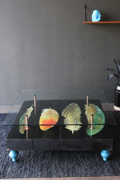 Bird Feather Reclaimed Coffee Table With Glass Top & Blue Feet
