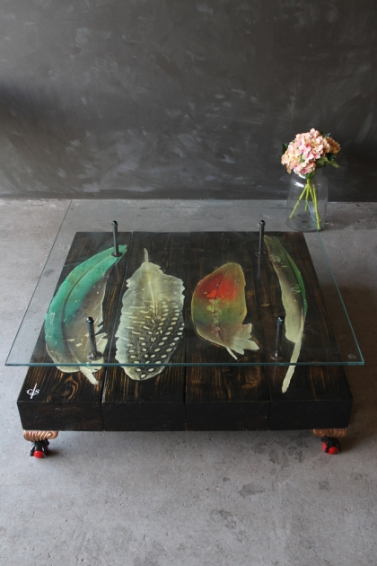 Bird Feather Reclaimed Coffee Table With Glass Top & Red Feet
