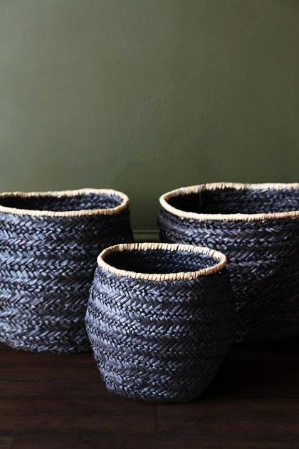 Set Of 3 Beautiful Black Seagrass Baskets