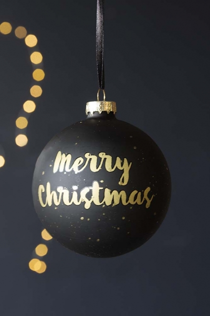 Black & Gold Merry Christmas Bauble Hanging Decoration