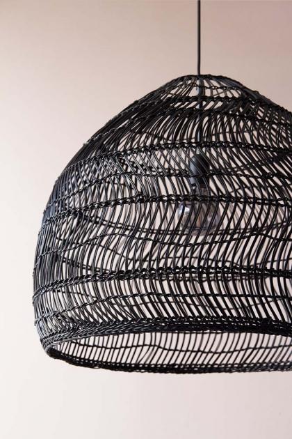 Black Wicker Dome Ceiling Light