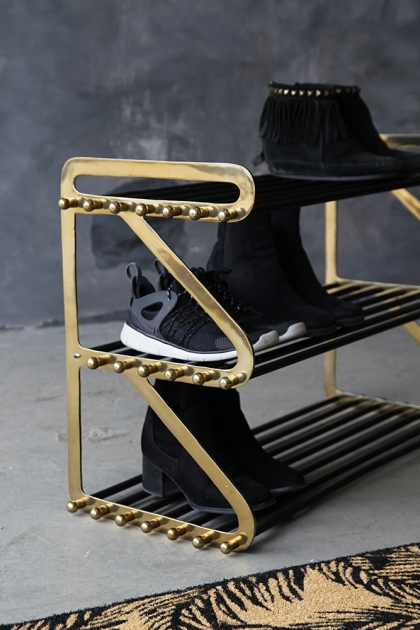 Three Tier Black & Brass Shoe Rack