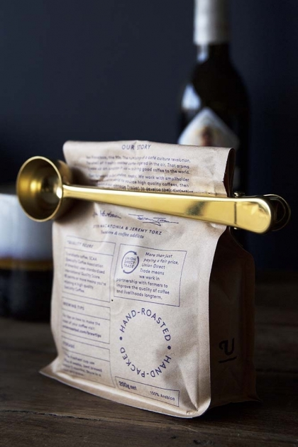 Brass Finish Coffee Scoop With Clip