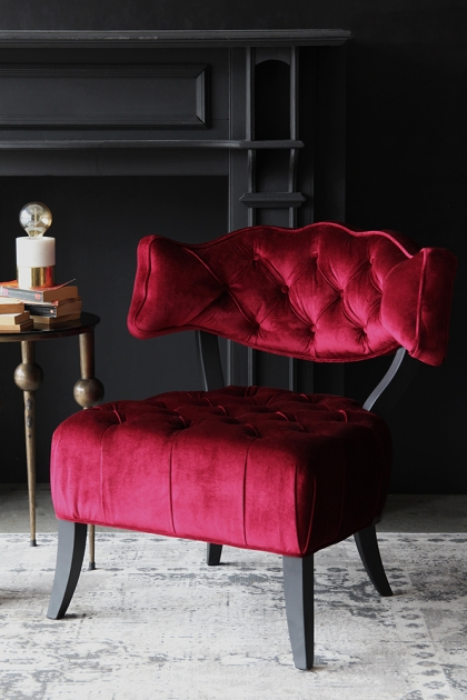 Cloud Velvet Chair - Pinot Noir Red