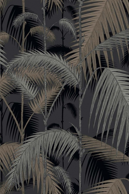 Cole & Son Contemporary Restyled - Palm Jungle Wallpaper - Silver on Black