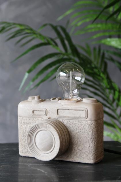 Concrete Vintage Camera Lamp