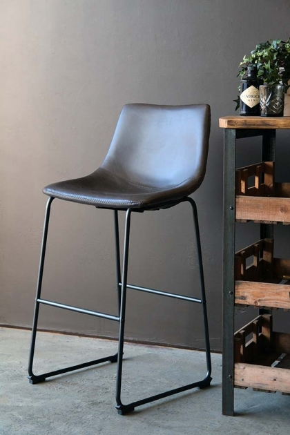 Tyler Faux Leather Bar Stool - Charcoal Grey