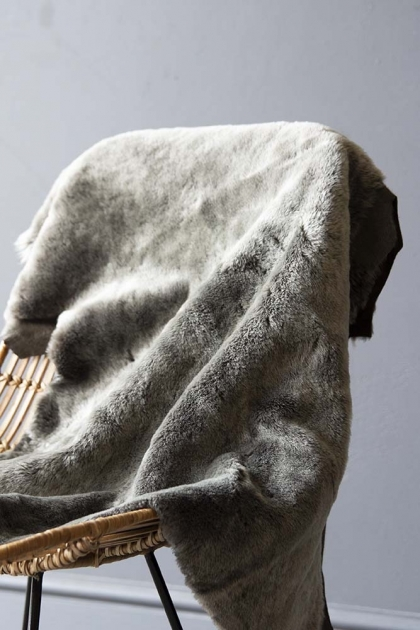 Genuine Shearling Sheepskin Rug - Grey