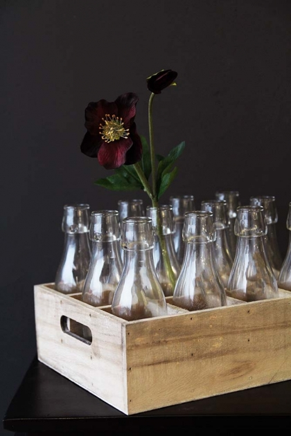 Wooden Box Crate With 12 Clear Glass Bottles