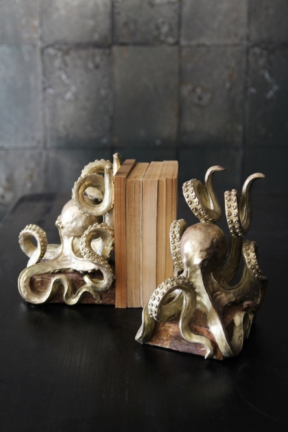 Gold Octopus Bookends