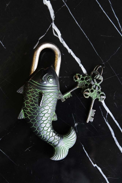 Decorative Fish Brass Padlock