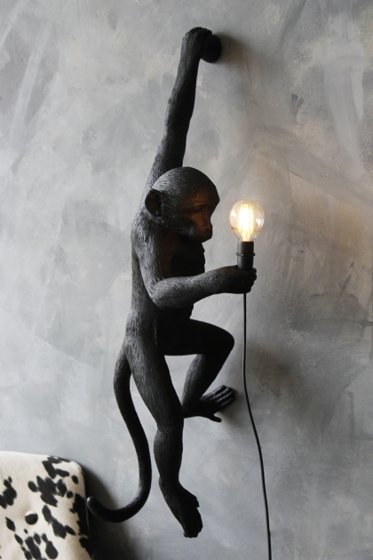 Left-Hand Hanging Monkey Wall Lamp - Black