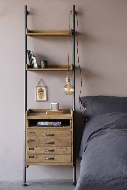 Industrial Style Ladder Shelf Unit With 2 Drawers
