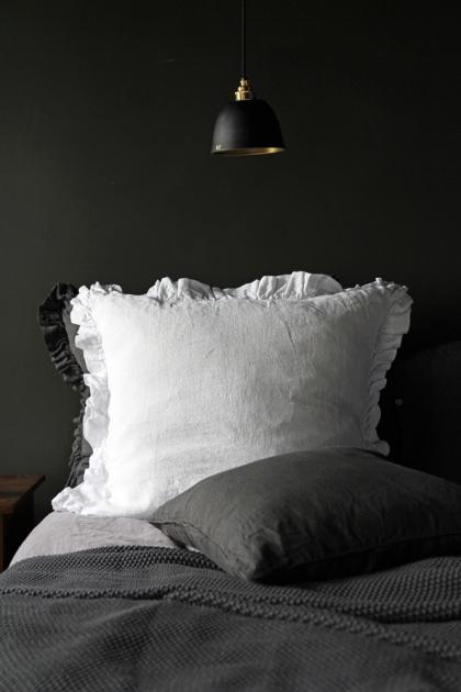 Olivia Soft Linen Frill Cushion - White