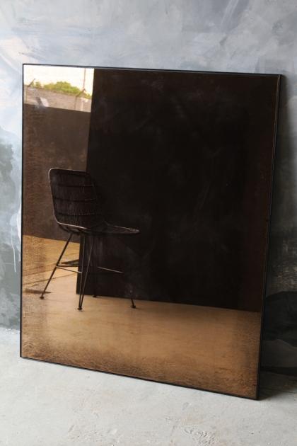 Large Vintaged Mirror With Metal Frame