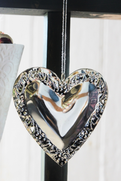 Silver Heart Hanging Decoration