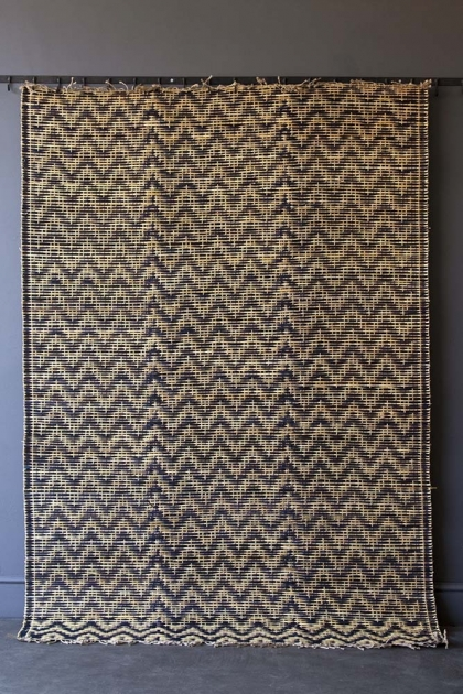 Natural Moroccan Bamboo Rug With Chevron Pattern - Midnight Blue