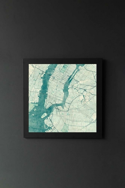 Unframed New York Map Blue Vintage Art Print
