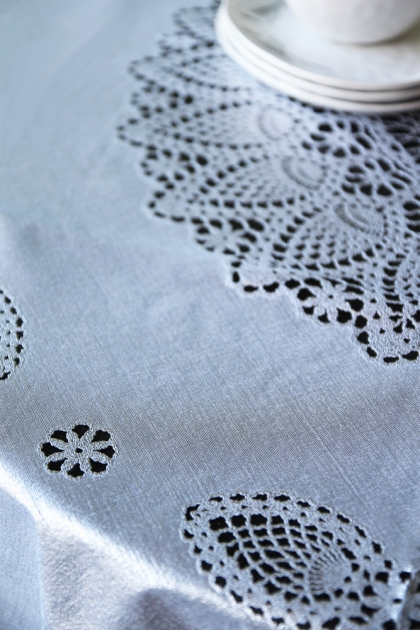 Outdoor Vinyl Lace Crochet Tablecloth - Silver