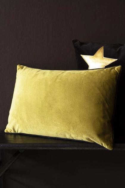Rectangle Velvet Cushion - Golden Lime & Emerald Green