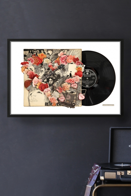Framed The Beatles Revolver Record Cover Collage by Alison Stockmarr