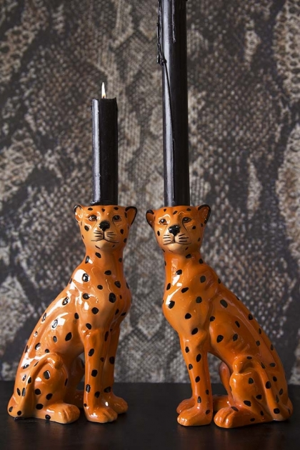 Set Of 2 Leopard Candle Holders